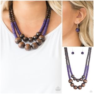 Paparazzi Cancun Castaway Purple Necklace Set